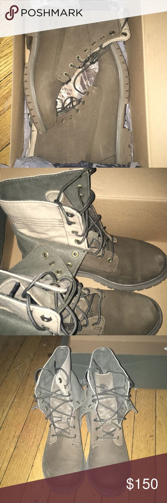 Timberland boots Timberland Authentics Double Fold-down Olive Green Nubuck Boots. Boots have been worn a handful of times. Few scratches and scruff marks. Reasonable offers please! Timberland Shoes Winter & Rain Boots