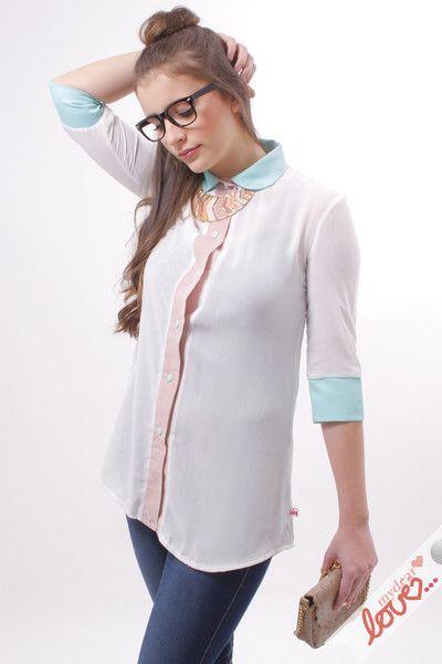 Hemdblusen - mydearlove Hemd Kleid Mia  Weiß Rosa, Mint Chiffon - ein Designerstück von mydearlove bei DaWanda