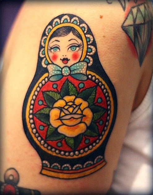 Traditional Matryoshka Tattoo Design