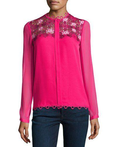 TS09H Elie Tahari Luna Silk Blouse w/ Floral Appliqué, Pink