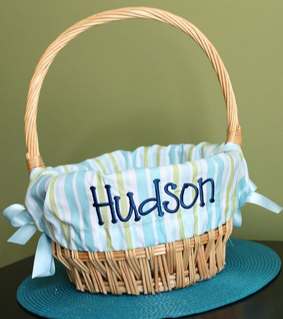 Personalized+Easter+Basket+Liner+-+Blue+and+Green+Stripe,+$26.00