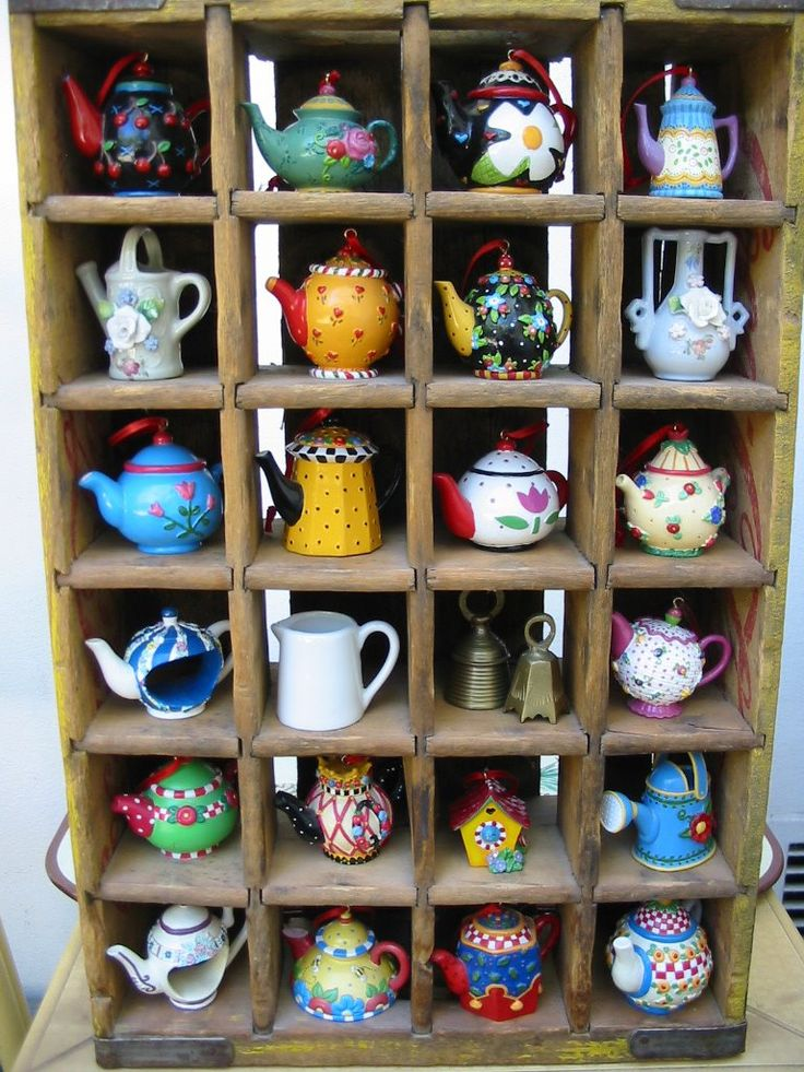 Teapot ornaments tea time country girl tea pot miniatures teapots