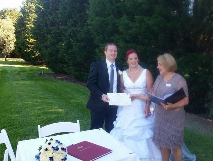 Presentation of Marriage Certificate, Barwon Edge, Geelong, February,