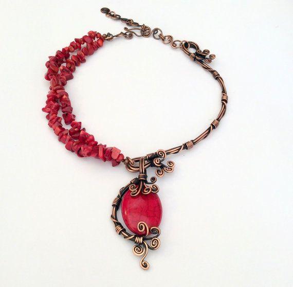 Korallen Perlen Halskette Korallenkette Draht von BeyhanAkman