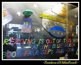 photo of: Showcase Bulletin Board with Outer Space/Rocket Theme (from Bulletin Board RoundUP via RainbowsWithinReach)