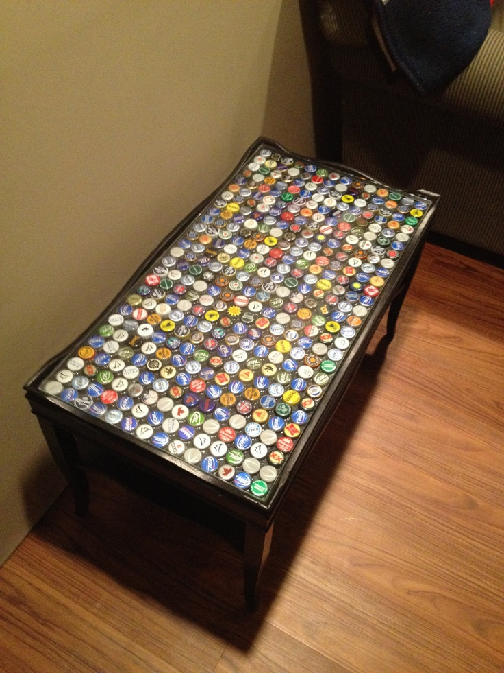 Assorted Beer Cap Coffee Table. $210.00, via Etsy.