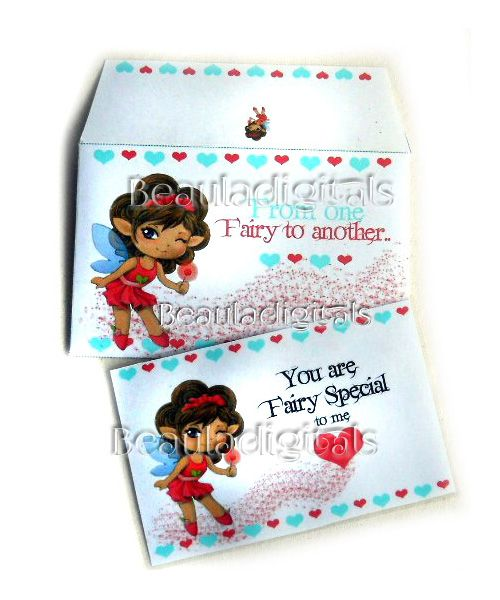 """You are """"Fairy Special"""" with this cute Card and Envelope.  Printable Download Template"""