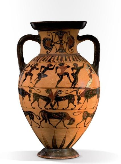 A Tyrrhenian Amphora attributed to the Castellani painter, Greek 570 B.C.