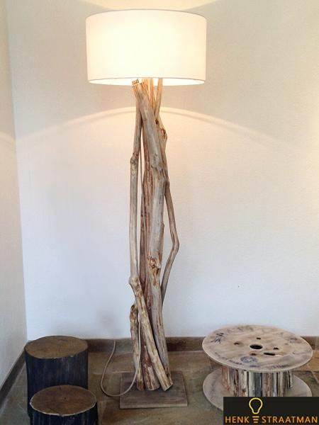 vloerlamp van hout excellent | Houten Lampen