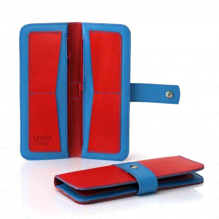 Яркий красно-синий кошелек на кнопке | 100% кожа, ручная работа | Leonid Titow | СПб
