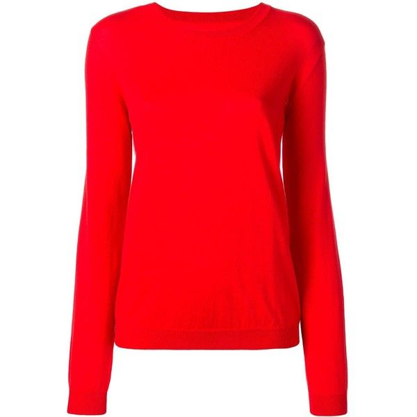 Maison Margiela elbow patch jumper ($495) ❤ liked on Polyvore featuring tops, sweaters, red, jumpers sweaters, long sleeve sweater, maison margiela sweater, elbow patch sweater and red top