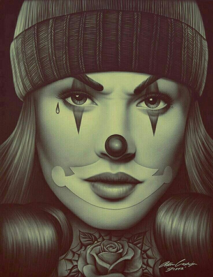 OG Payasa by Spider Latina Payaso Mime Clown Woman Tattoo Canvas Fine Art Print