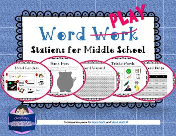 Secondary teachers who have struggling readers and writers supplement their instruction with word work activities. This product turns word work into word PLAY with games and puzzles and friendly competition. Some activities include pictures  great for English language learners.What's included:* 12 hands-on Word Play activities with clear instructions and visuals for students* Sheet of cut-outs for each activity with instructions for the teacher* A Personal Word Wall for students to keep…