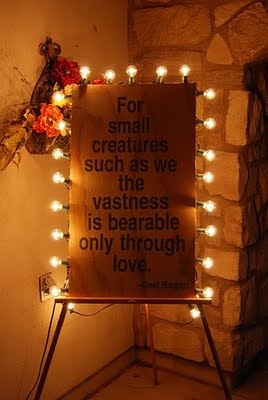 For small creatures such as us we the vastness is bearable only through love. Carl Sagan