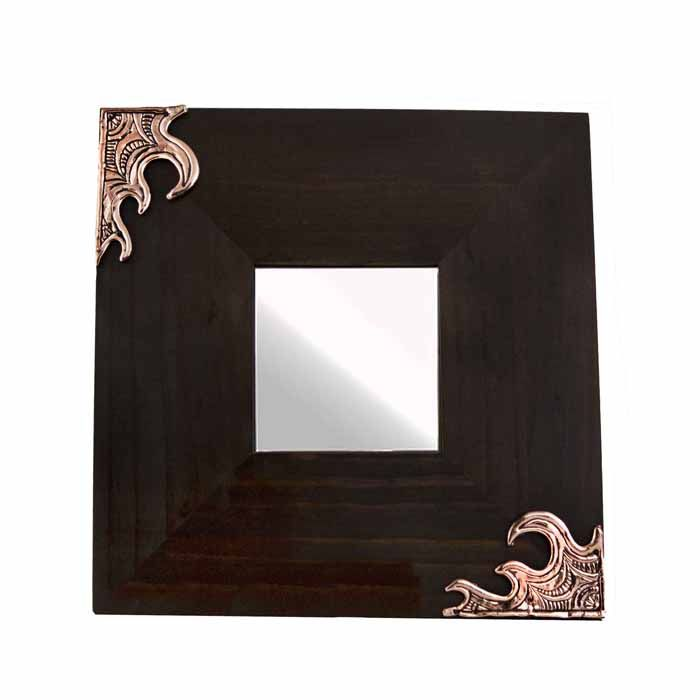 Wooden mirror with two waves. The drawing and sculpture in wax is made by the artist Marios Voutsinas. Dimensions: 25 cm x 25 cm x 1 cm  Copper.