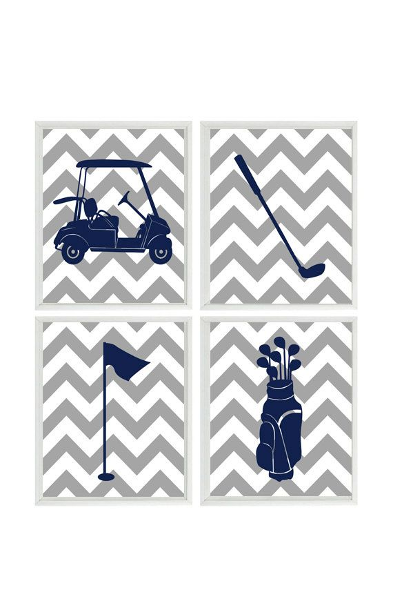 Golf Wall Art Print - Chevron Gray Navy Blue Nursery Preppy Art - Golf Club Cart - Gift Golfer Boy Man Room Dorm Sports Home Decor - 4 8x10