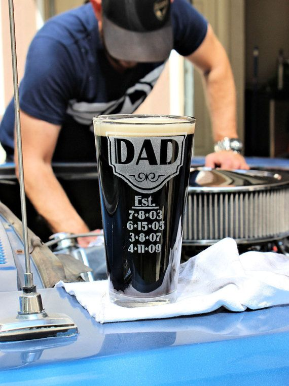 Est. BEER Glass for Father's Day Personalized Mug by ScissorMill