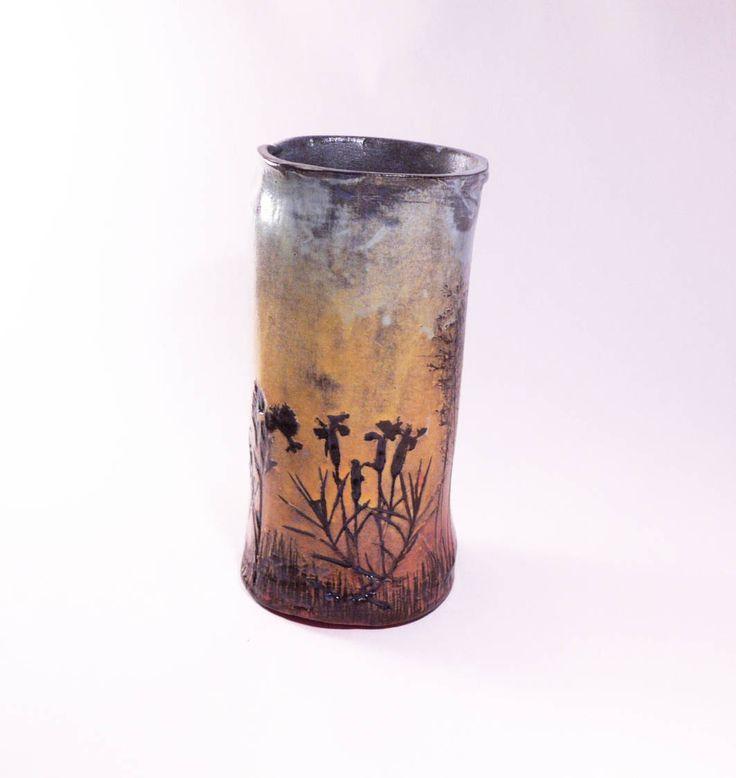 Sunset meadow vase, sgraffito pottery, tea mug, handmade mug, ceramic vase, colorful vase, ceramic mug, meadow vase, sunset vase by CeramicsNaturalist on Etsy