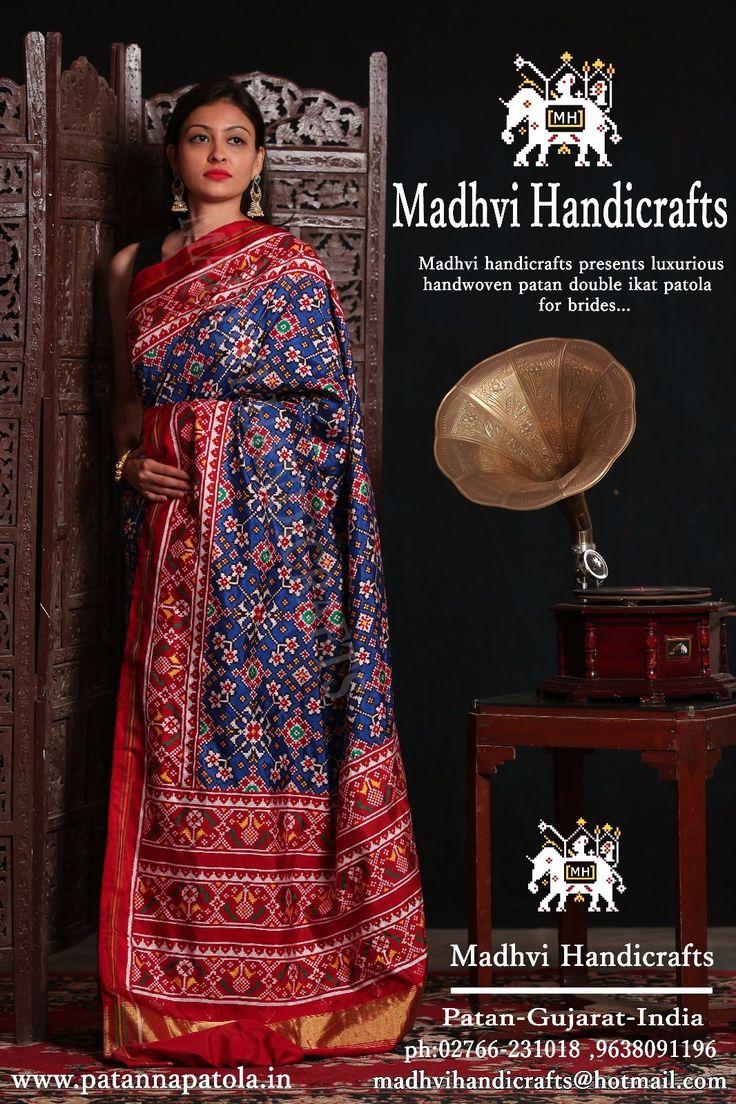 Madhvi handicrafts The famous handicrafts of patan double ikat patola  Blue mavaratna design  For inquiries  Whatsapp :0 9638091196