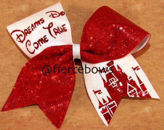 Dreams Do Come True Cheer Bow by MyFierceBows on Etsy, $16.00