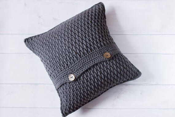 Grey Cushion Cover, Textured Cushion, Neutral Envelope Cushion, Rustic Farmhouse Pillow, Crochet Cushion, Hyyge Decor, Scandinavian Cushion