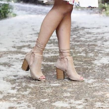 Lace-Up Cut-Out Peep Toe Booties in Taupe