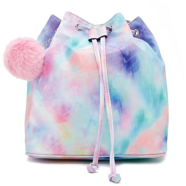 Forever21 Pom Pom Tie-Dye Backpack (£20) ❤ liked on Polyvore featuring bags, backpacks, detachable backpack, chain bags, tie dye bag, tie-dye backpacks and drawstring backpack bag