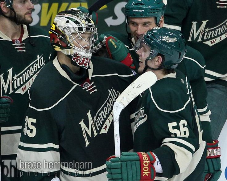 Darcy Kuemper and Erik Haula, Minnesota Wild. The look on Darcy's face!