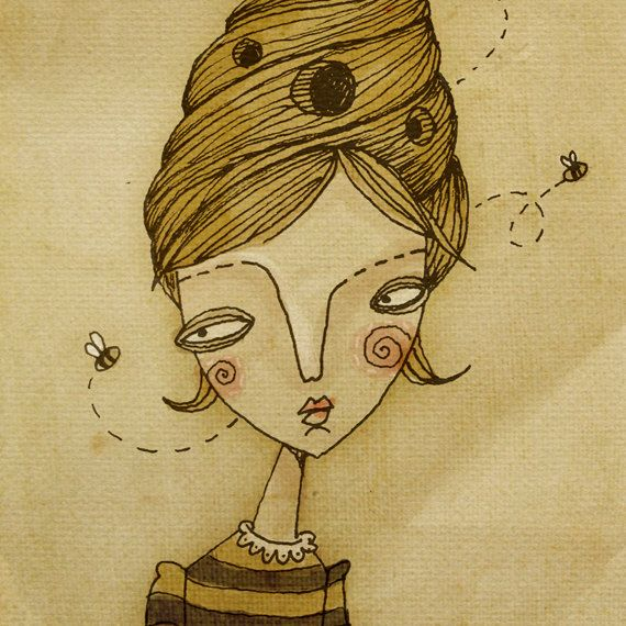 """Alive Beehive by Andy Bauer   beehive, hairdo, bees, """"over ...   Beehive Hairstyle Drawing"""