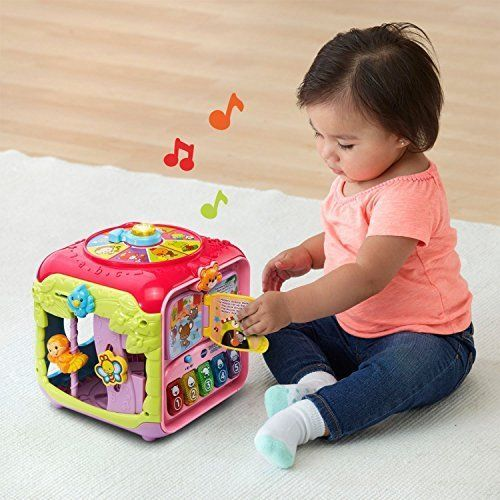 Baby Developmental Toy Sort Discover Activity Cube Pink Spinner Song Play Gift  #VTech