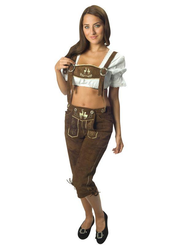 Lederhosen i skinn til dame - Oktoberfest kostymer