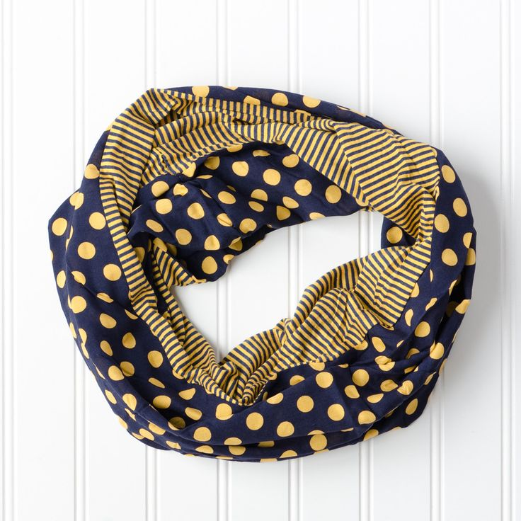 Dots & Stripes Infinity Scarf in Memphis Grizzly Blue & Gold