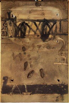 Antoni Tàpies, Gran materia amb petjades, 1992, mixed media on wood 118 x 78 3/4 in. / 300 x 200 cm. T008683. Fundació Antoni Tàpies, Barcel...