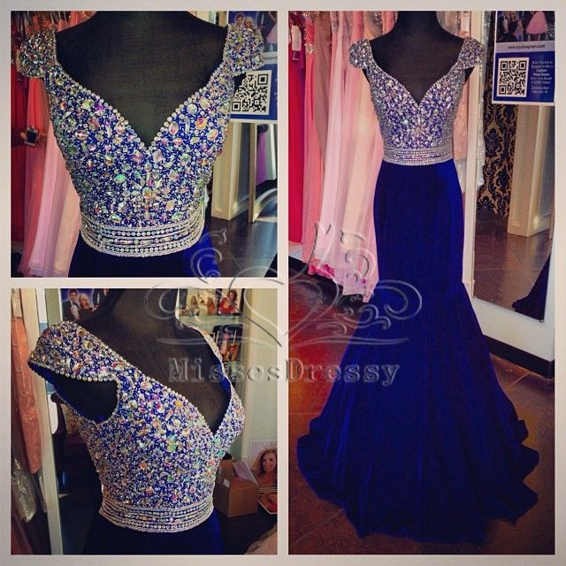 Find More Prom Dresses Information about Royal Blue Prom Dress 2015 Mermaid V Neckline Cap Sleeve Rhinestone Floor Length Long Prom Dresses,High Quality dress garter,China dress palace Suppliers, Cheap dress patterns prom dresses from Rsvp Prom and Pageant Trading Company on Aliexpress.com