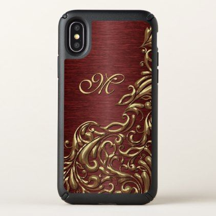 Custom Faux Shiny Gold Floral Swirl Pattern - monogram gifts unique design style monogrammed diy cyo customize