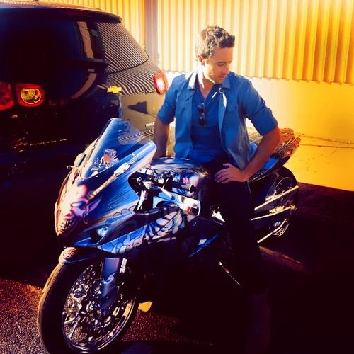 Alex O'Loughlin. Men on motorcycles equals hotness, especially him