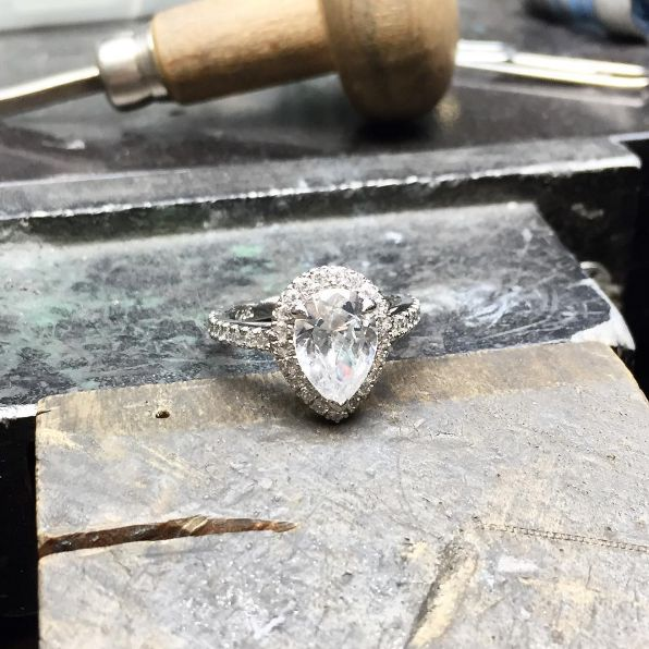 Behind The Scenes  This big mama is fresh off the bench! #mylarsensparkler  #rings #engagementrings #halo #diamond #jewellery #sparkle #wedding