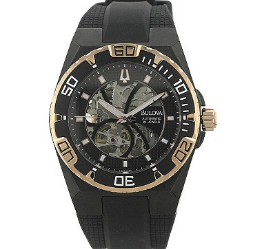 This strong and masculine watch design by Bulova features a skeleton dial & case back which allows you view the watch movement as it works. #ilovetoshop
