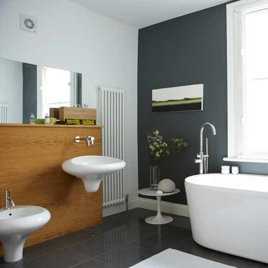 I love the contrast of grey and white for our bathroom