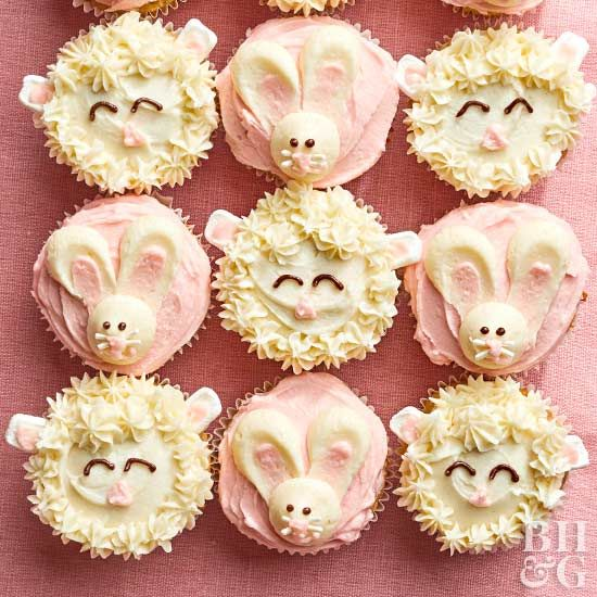 These cupcakes are almost too adorable to eat! Decorate an entire batch of these banana-pineapple spice cupcakes with cute bunny faces just for Easter, or mix in a few fluffy lambs alongside them to help celebrate spring.