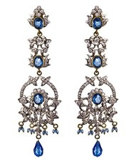 Vintage white gold and blue topaz earrings.