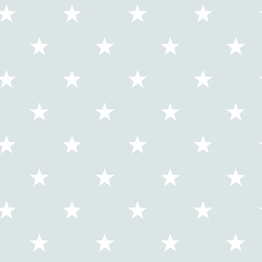 Deauville Stars Wallpaper An light aqua wallpaper with an all over star design in white.
