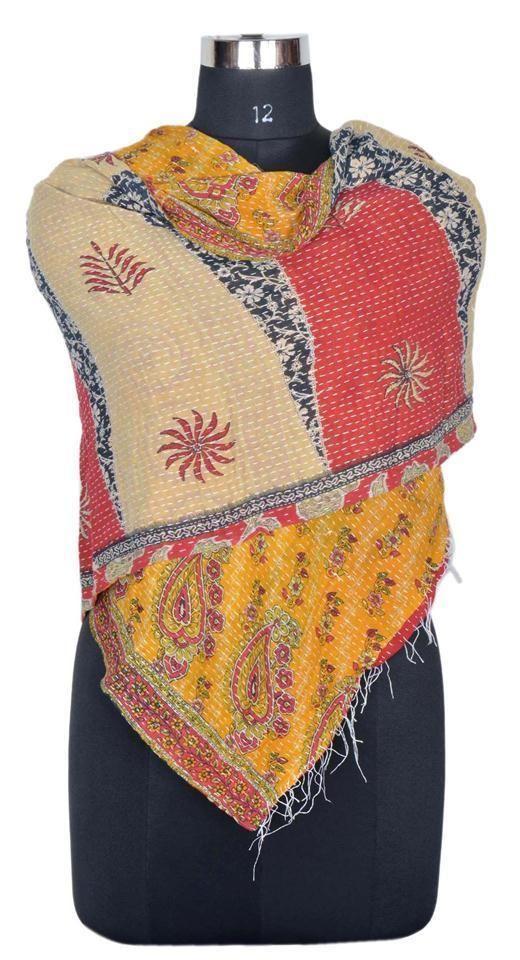 Vintage Cotton Kantha Scarf Stole Sari Handmade Neck Wrap Reversible IndiaIDF72 #Handmade #Scarf