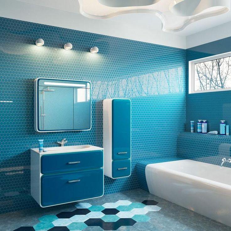 meuble salle de bain moderne en blanc et bleu, carrelage mural en ...