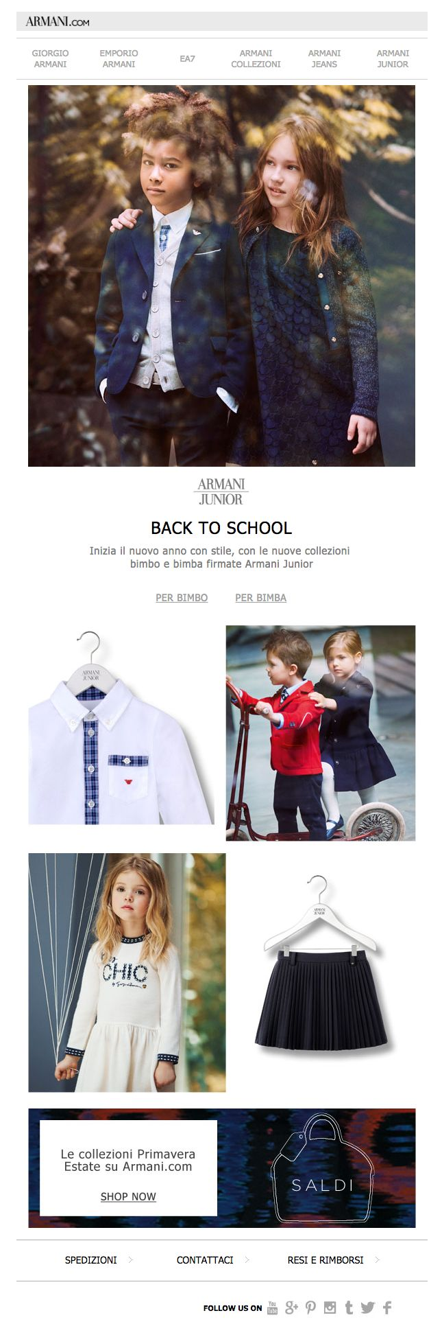 Armani Junior: back to school