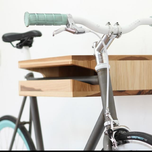 knife and saw wood bike shelf
