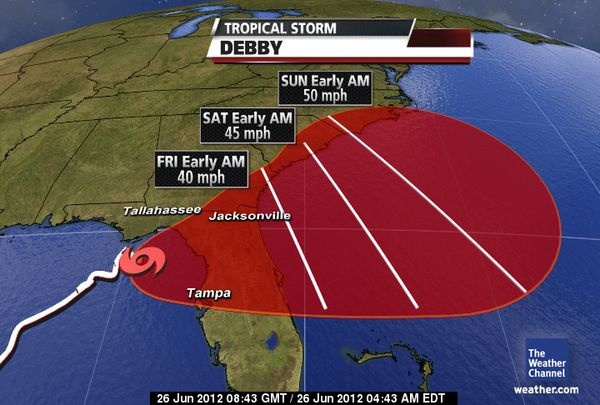 TS Debby does Florida June 26 2012 | The weather channel ...