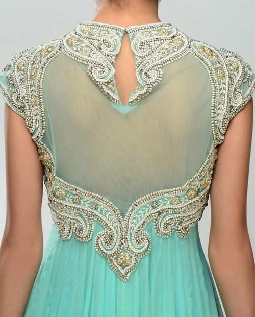 Aqua/Anarkali Suits—gorgeous green back on this dress