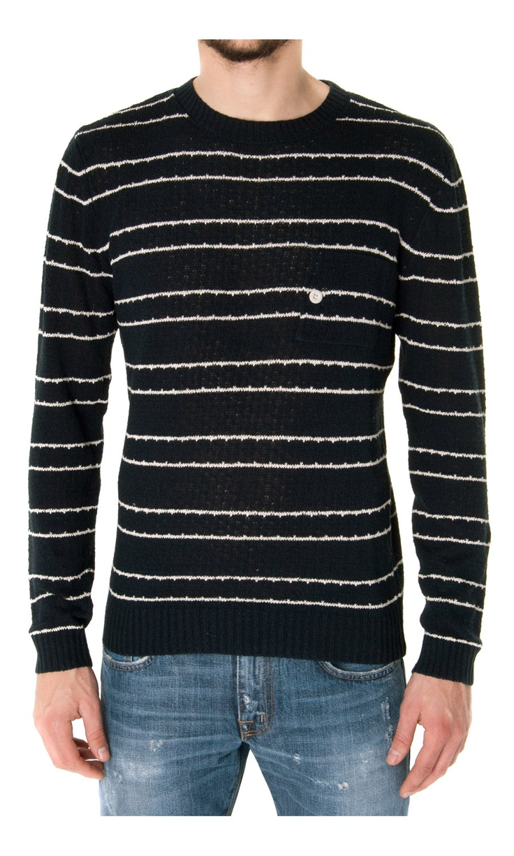 Band of outsiders Knitted Striped Silk Sweater - #menswear  www.sansovinomoda.it
