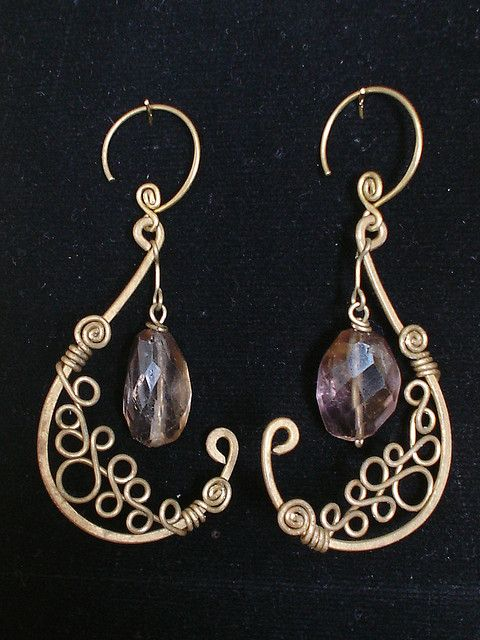 E 0102 Amethyst Pitcher Earrings Jewelry Making Pinterest Wire And